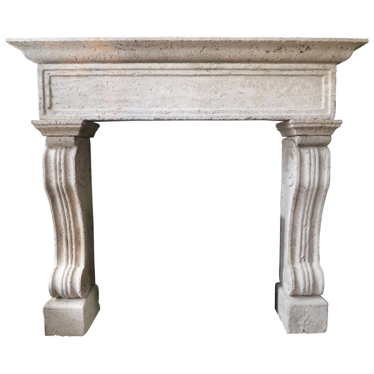 Italian Travertine Stone Fireplace Mantel at 1stdibs