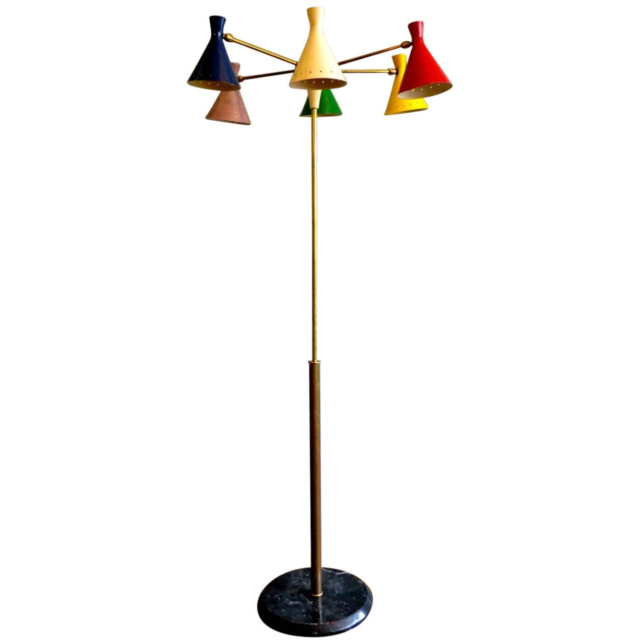 italian brass and multicolored shade floor lamp at 1stdibs. Black Bedroom Furniture Sets. Home Design Ideas