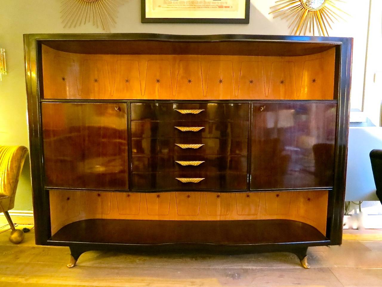 Italian rosewood cabinet dry bar at 1stdibs for Home dry bar furniture