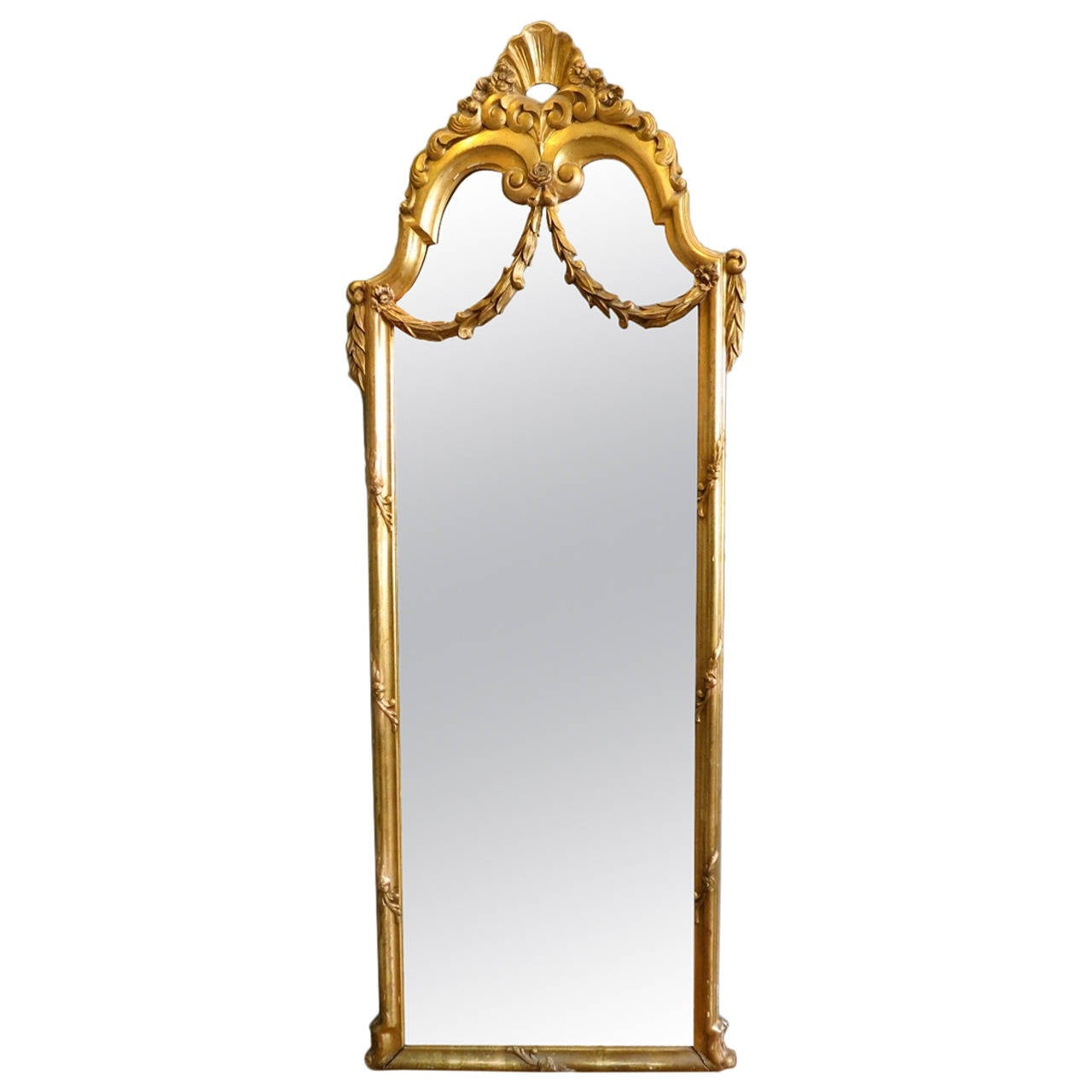 Antique french gold gilt floor standing mirror at 1stdibs for Floor length mirror for sale