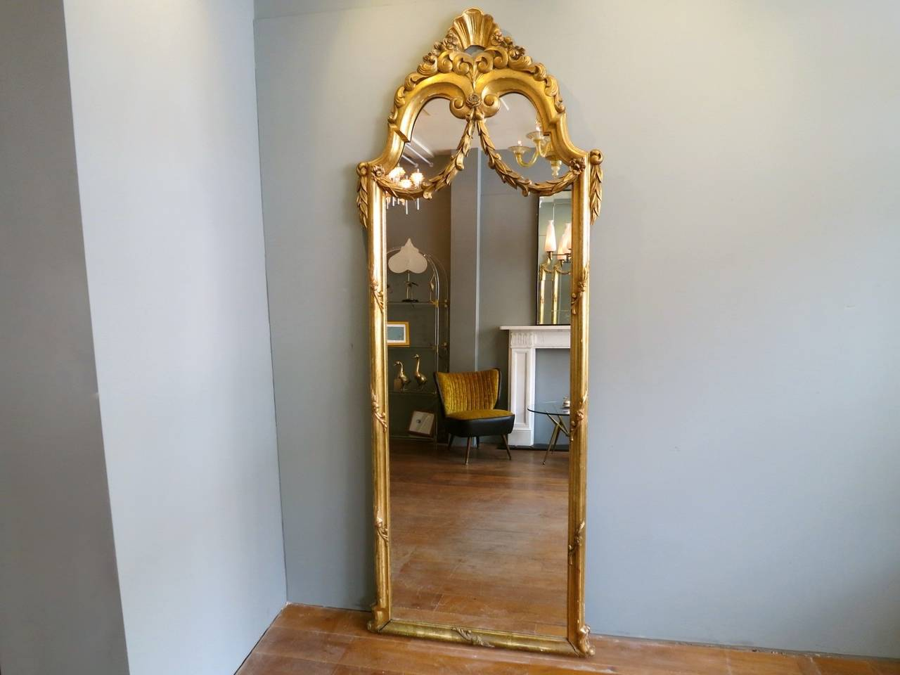 Antique French Gold Gilt Floor Standing Mirror At 1stdibs