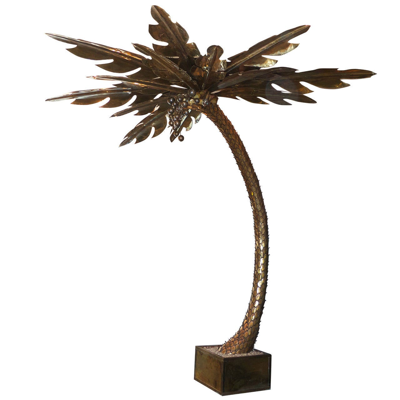this monumental french brass palm tree floor lamp attributed to maison. Black Bedroom Furniture Sets. Home Design Ideas
