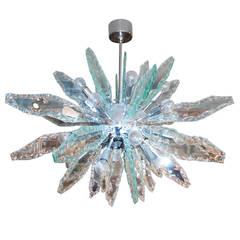 Italian Glass and Chrome Sputnik Chandelier Fontana Arte Style