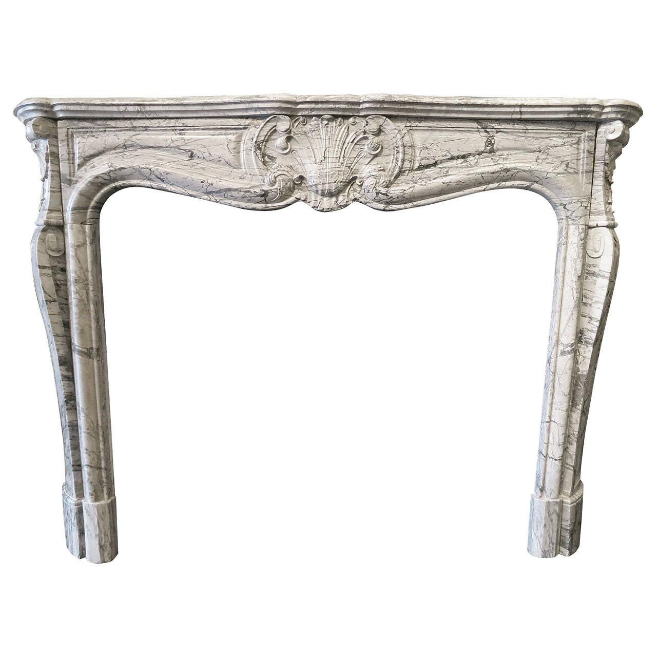 antique french louis xv fireplace mantel in bleu fleuri