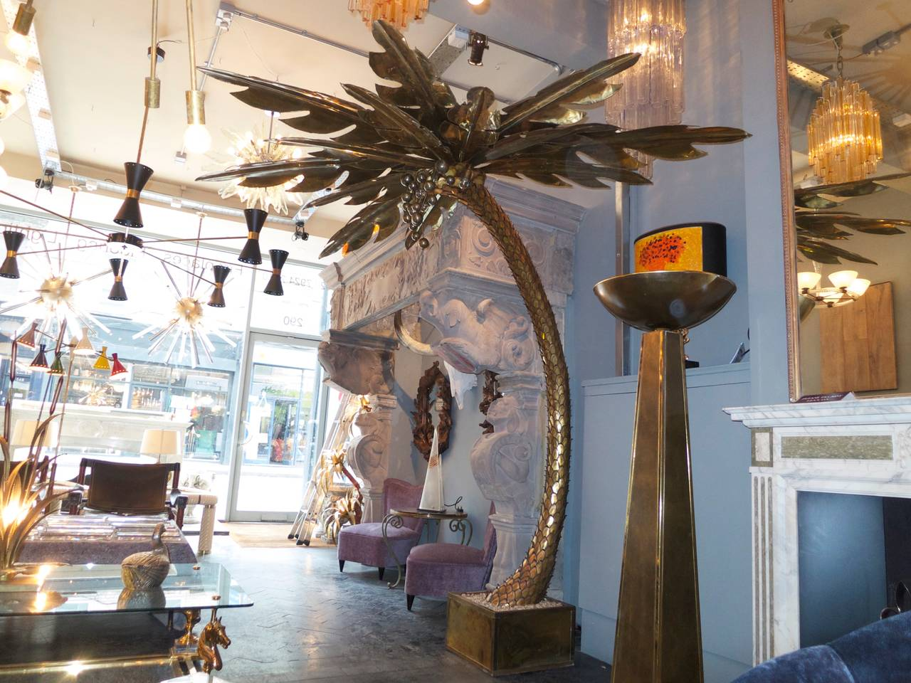 Monumental french brass palm tree floor lamp attributed to maison a huge brass and gilt steel floor lamp with 13 brass leaves to the top and arubaitofo Choice Image
