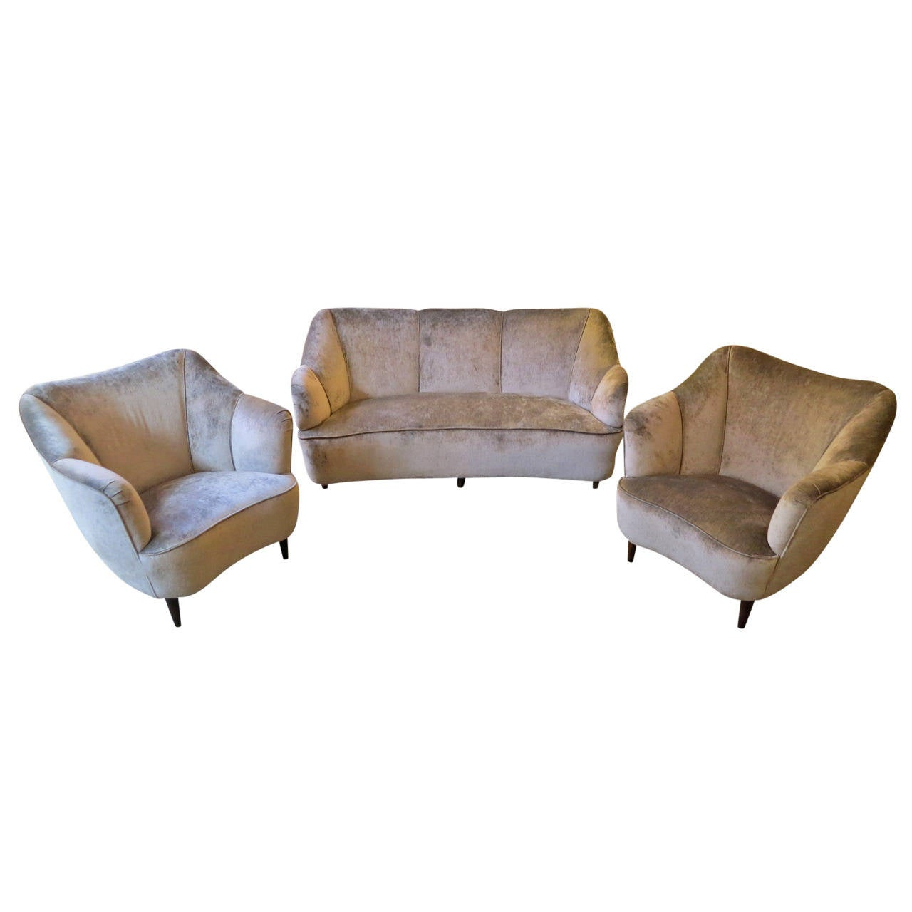 Italian 1950s Salon Suite with Curved Sofa and Armchair Set 1