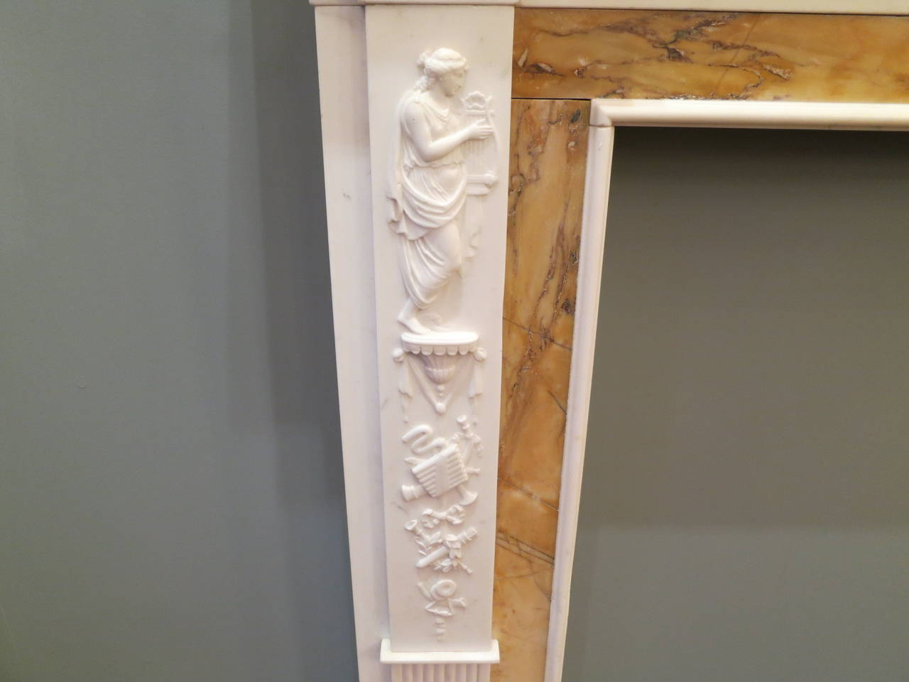 antique 19th century neoclassical marble fireplace mantel for sale