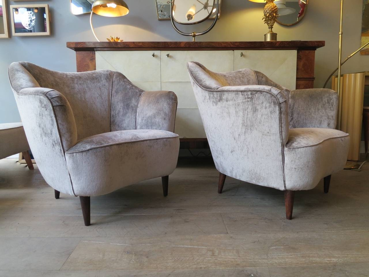 Italian 1950s Salon Suite with Curved Sofa and Armchair ...