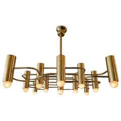 Large Gold Italian Sciolari Chandelier