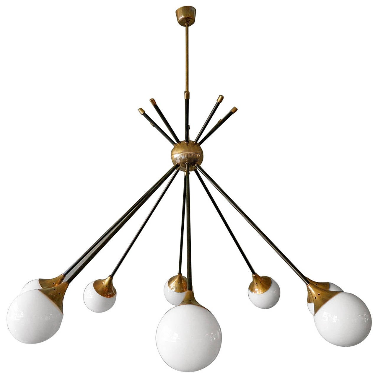 italian stilnovo sputnik chandelier at 1stdibs. Black Bedroom Furniture Sets. Home Design Ideas