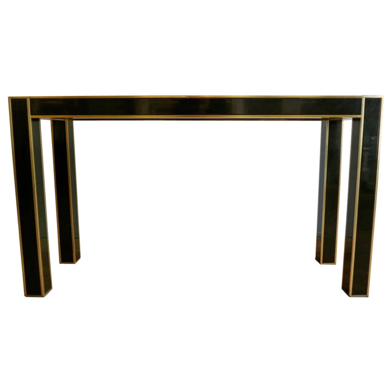 Italian Black And Gold Lacquered Console Table At 1stdibs