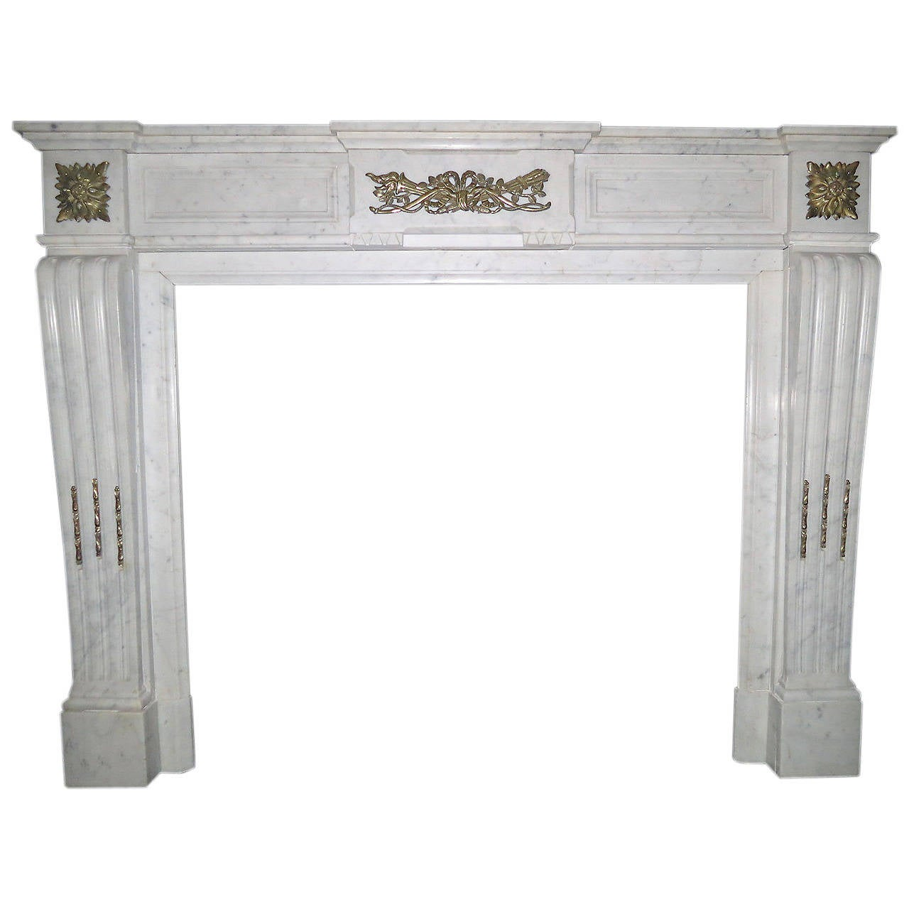 Antique French Louis Xvi Style Marble With Ormolu Fireplace Mantel At 1stdibs