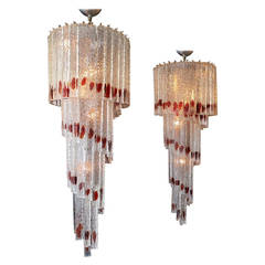 Pair of Italian Murano Glass Spiral Chandeliers