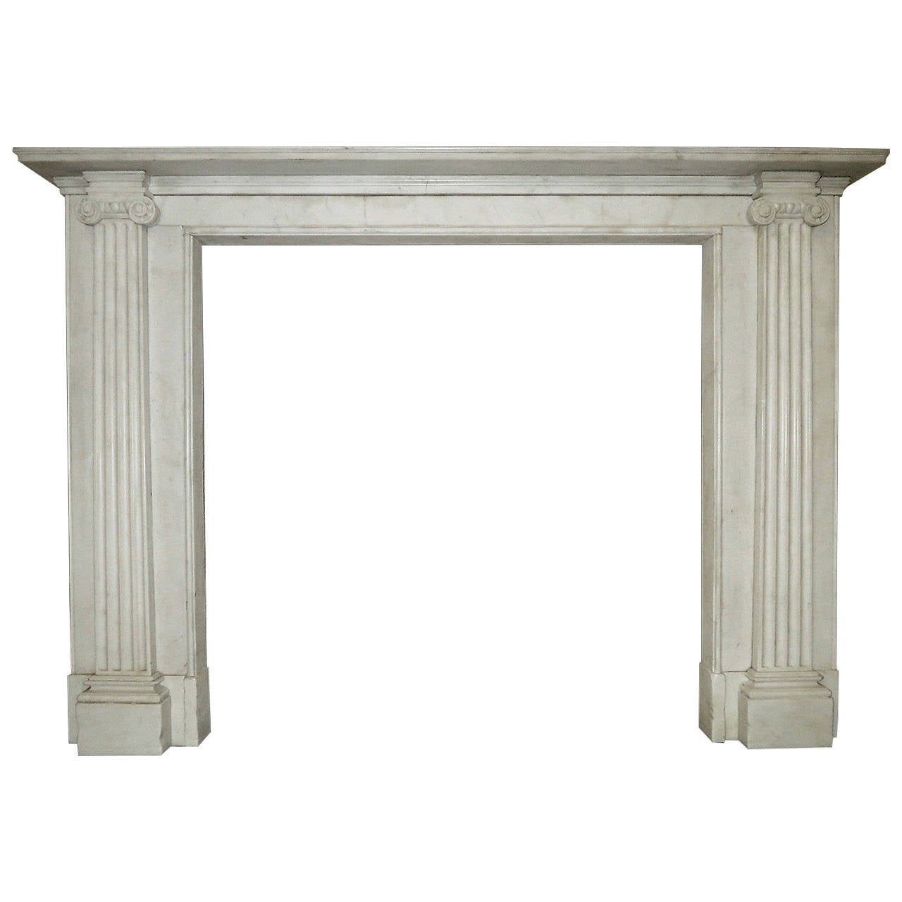 Regency Style White Marble Fireplace Mantel