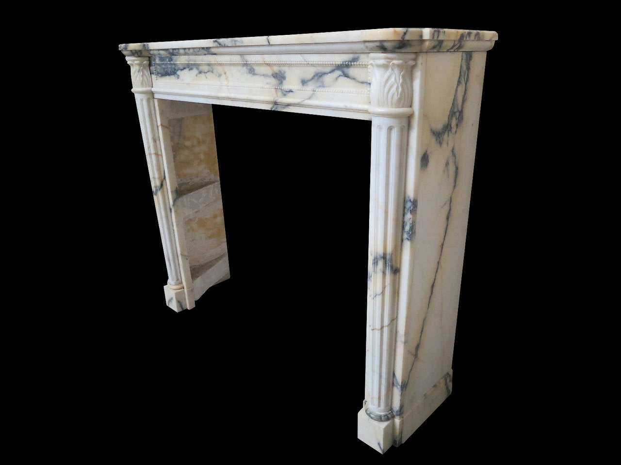 Antique French Louis Xvi Style Fireplace Mantel In Panazeau Marble At 1stdibs