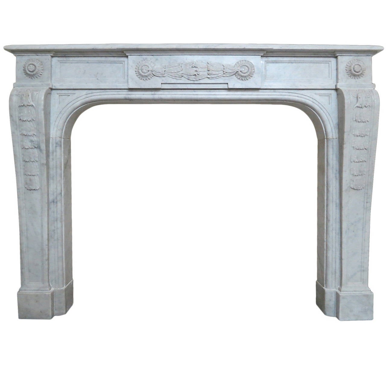 Antique French Louis Xvi Style Fireplace Mantel In Carrara Marble At 1stdibs