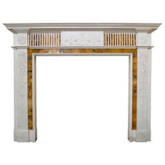 19th Century Statuary White and Sienna Marble Neoclassical Fireplace Mantel
