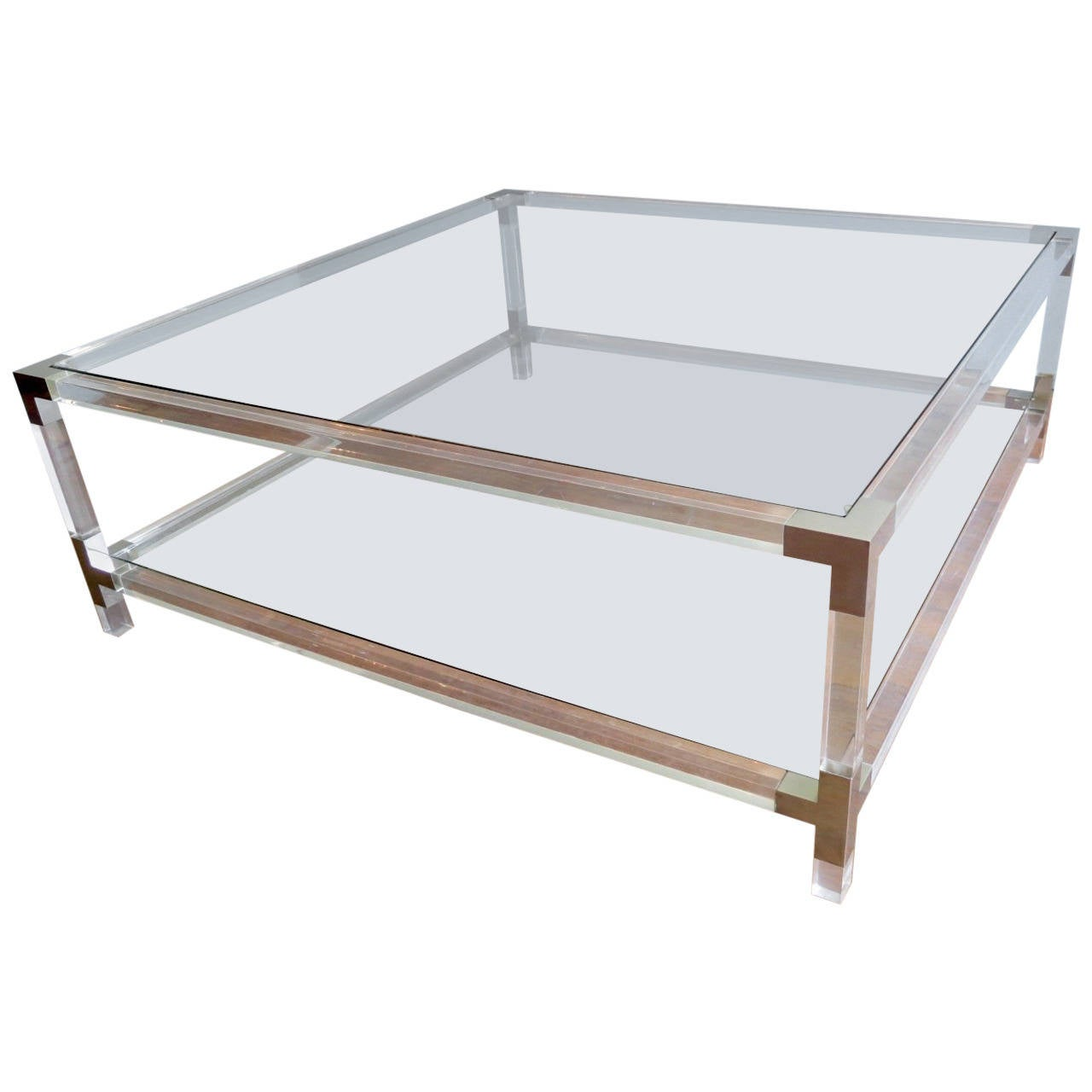 Large square lucite coffee table at 1stdibs Wide coffee table