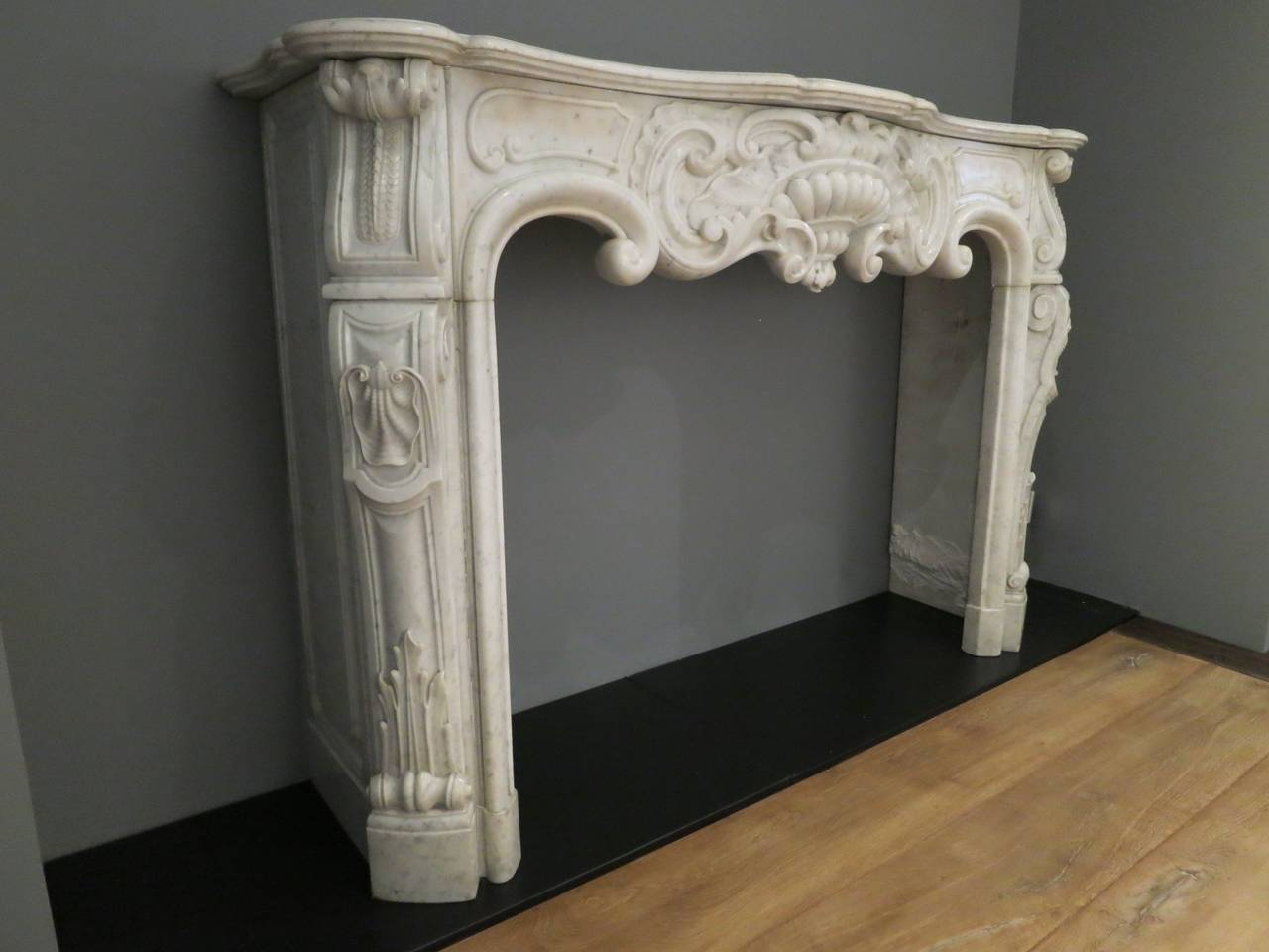 Antique rococo louis xv marble fireplace mantel for sale for Marble mantels for sale
