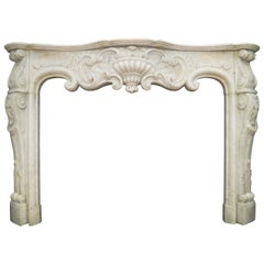 Antique Rococo Louis XV Marble Fireplace Mantel