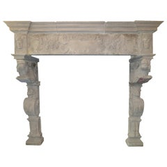 Monumental Antique Stone Renaissance Fireplace Mantel