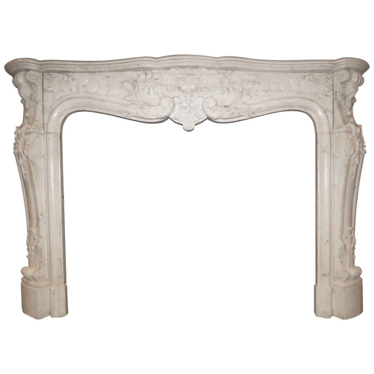 Large Marble Louis Xv Style French Fireplace Mantel At 1stdibs