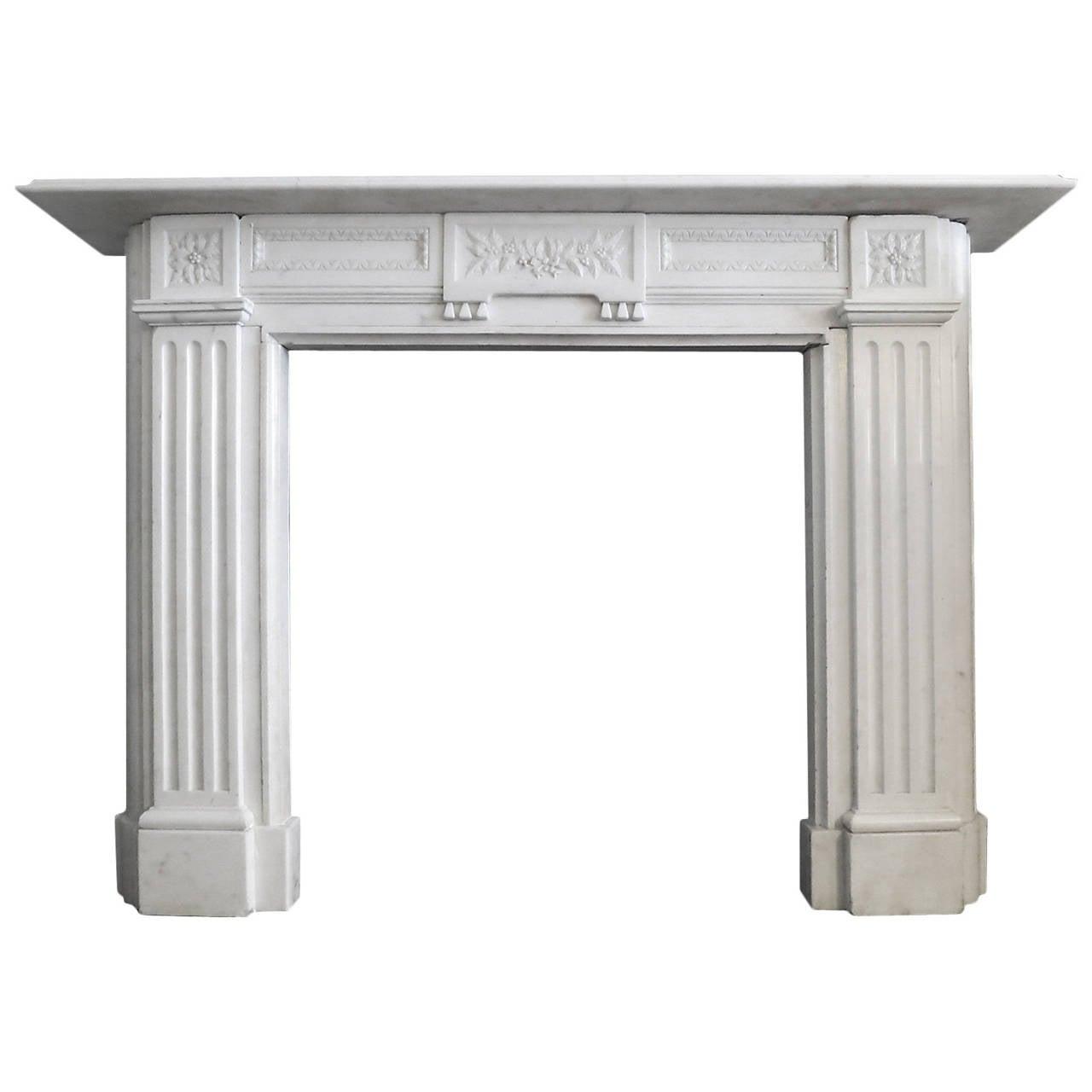 Antique Regency Style Statuary White Marble Fireplace Mantel