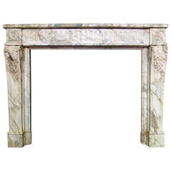 French Louis XVI Style Fireplace Mantel in Breche Marble