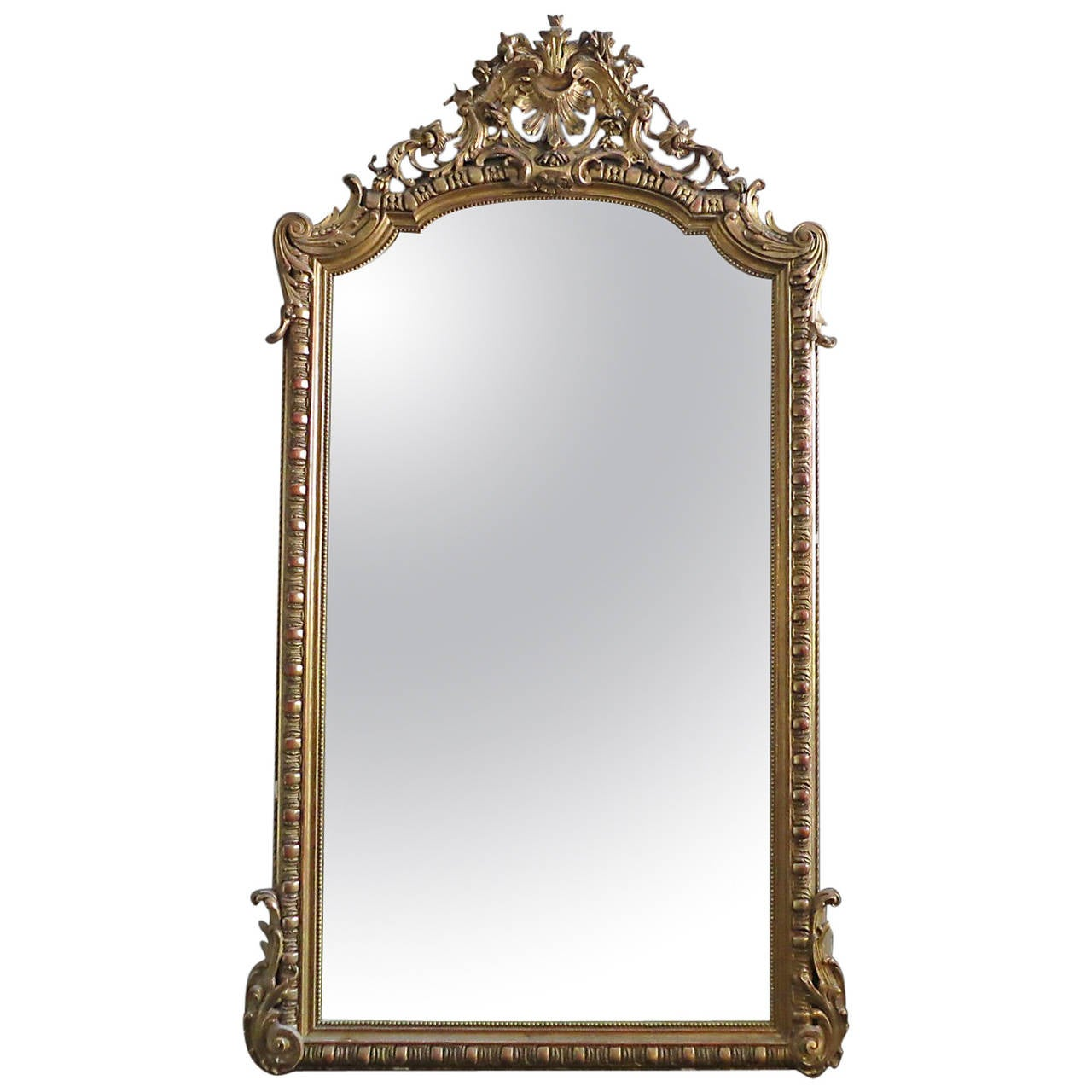 Large antique french gold gilt mirror at 1stdibs for Big gold mirror