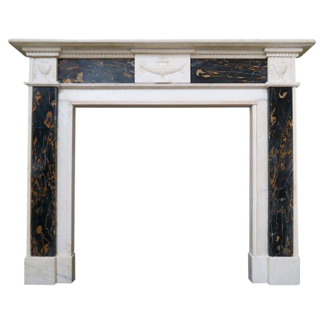 Antique Regency Period Statuary White and Portoro Marble Fireplace Mantel