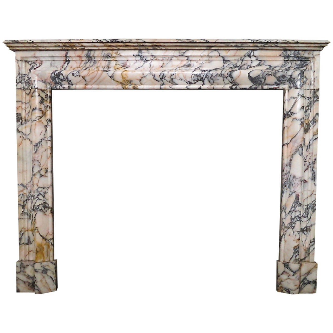 19th Century French Bolection Breche Violette Fireplace Mantel