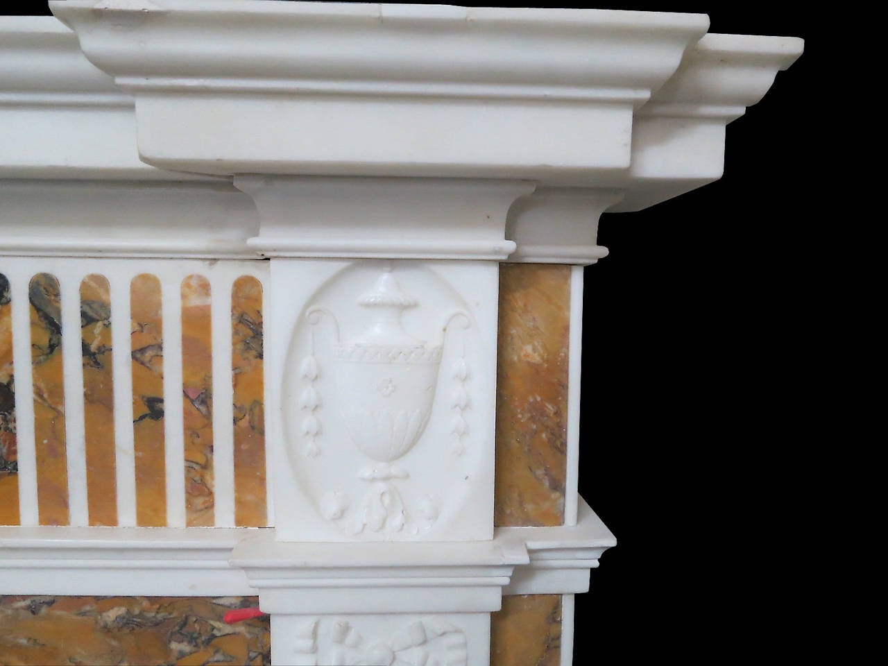 neo mantel fireplace classical with and detail siena english art statuary marble inlay antiques