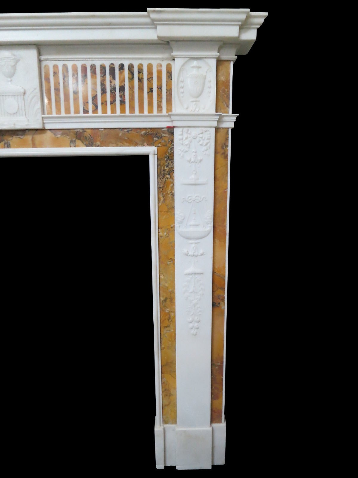 18th century statuary and convent sienna marble fireplace mantel