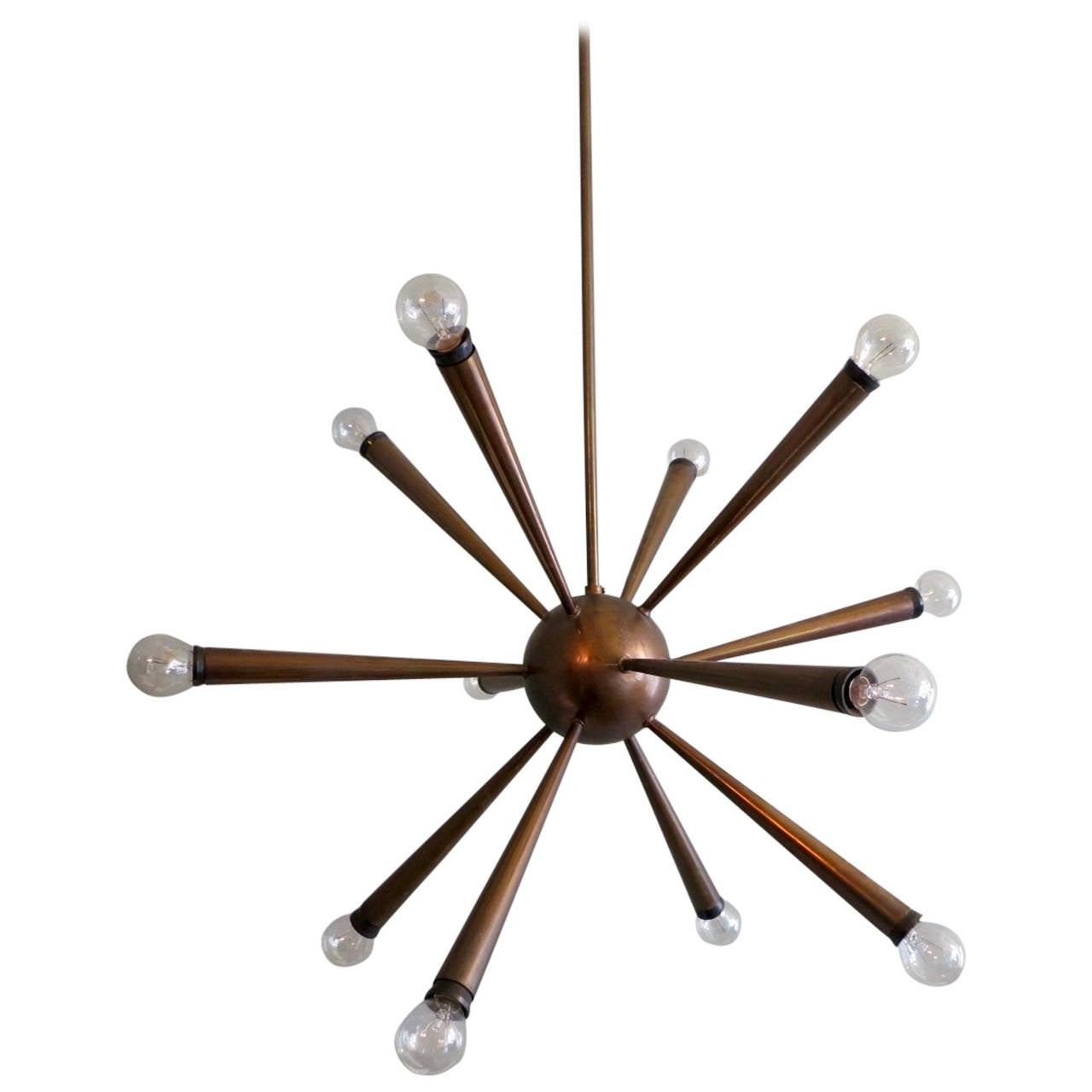 italian brass sputnik chandelier at 1stdibs. Black Bedroom Furniture Sets. Home Design Ideas