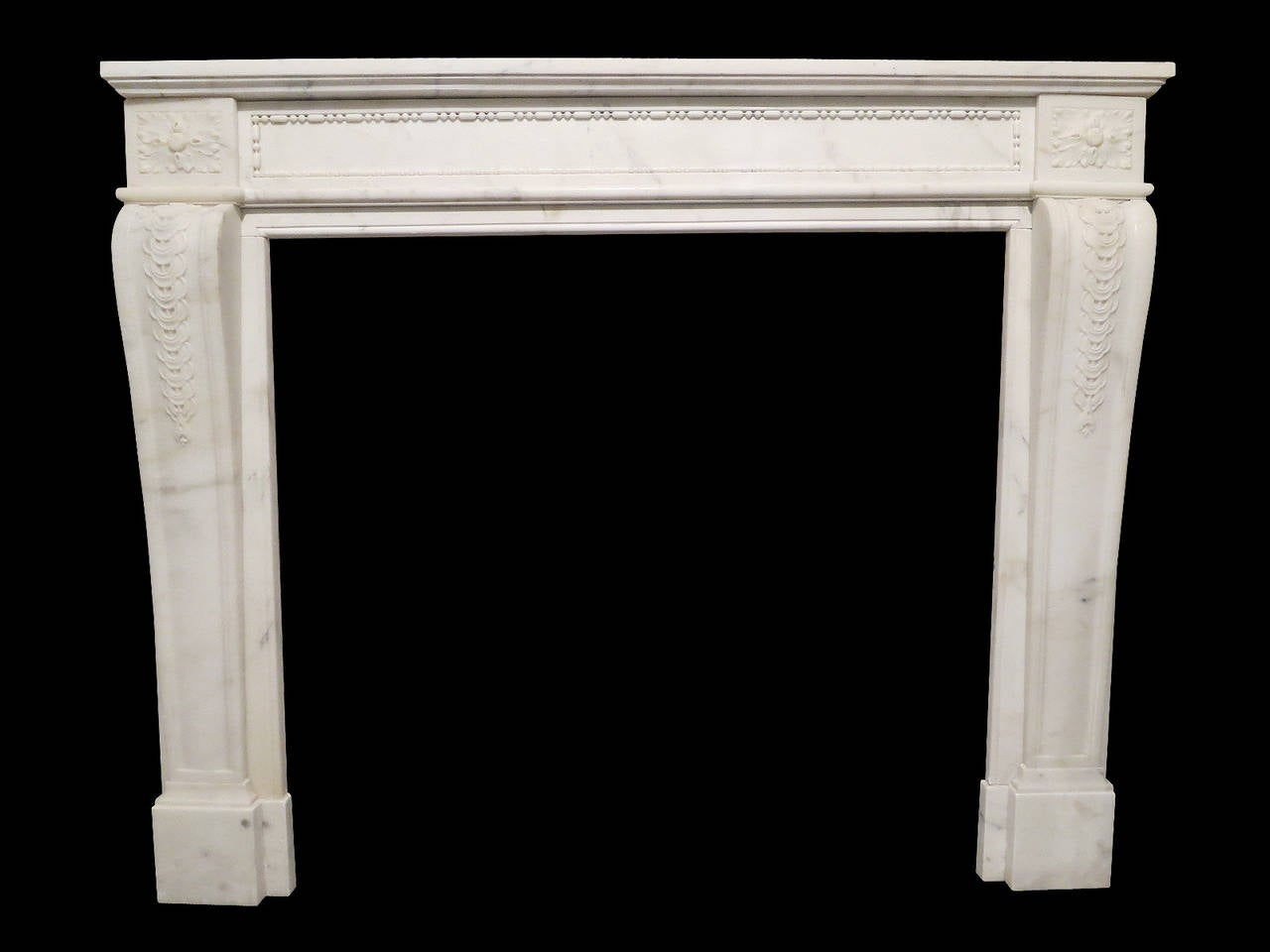 Antique French Louis XVI Style Statuary White Marble Fireplace ...