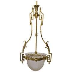 Late 19th Century Historistic Ceiling Lamp with Original Cut-Glass