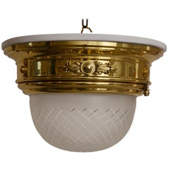 Ceiling lamp with white wood plate and cut glass around 1902