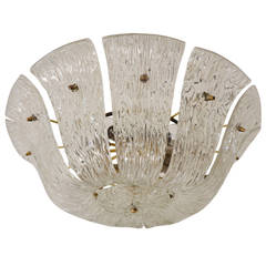 Grand Kalmar Chandelier with Curved and Textured Glass