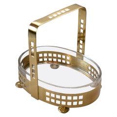 Brass Basket with Original Glass