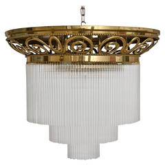 Jugendstil Ceiling Lamp with Glass Sticks