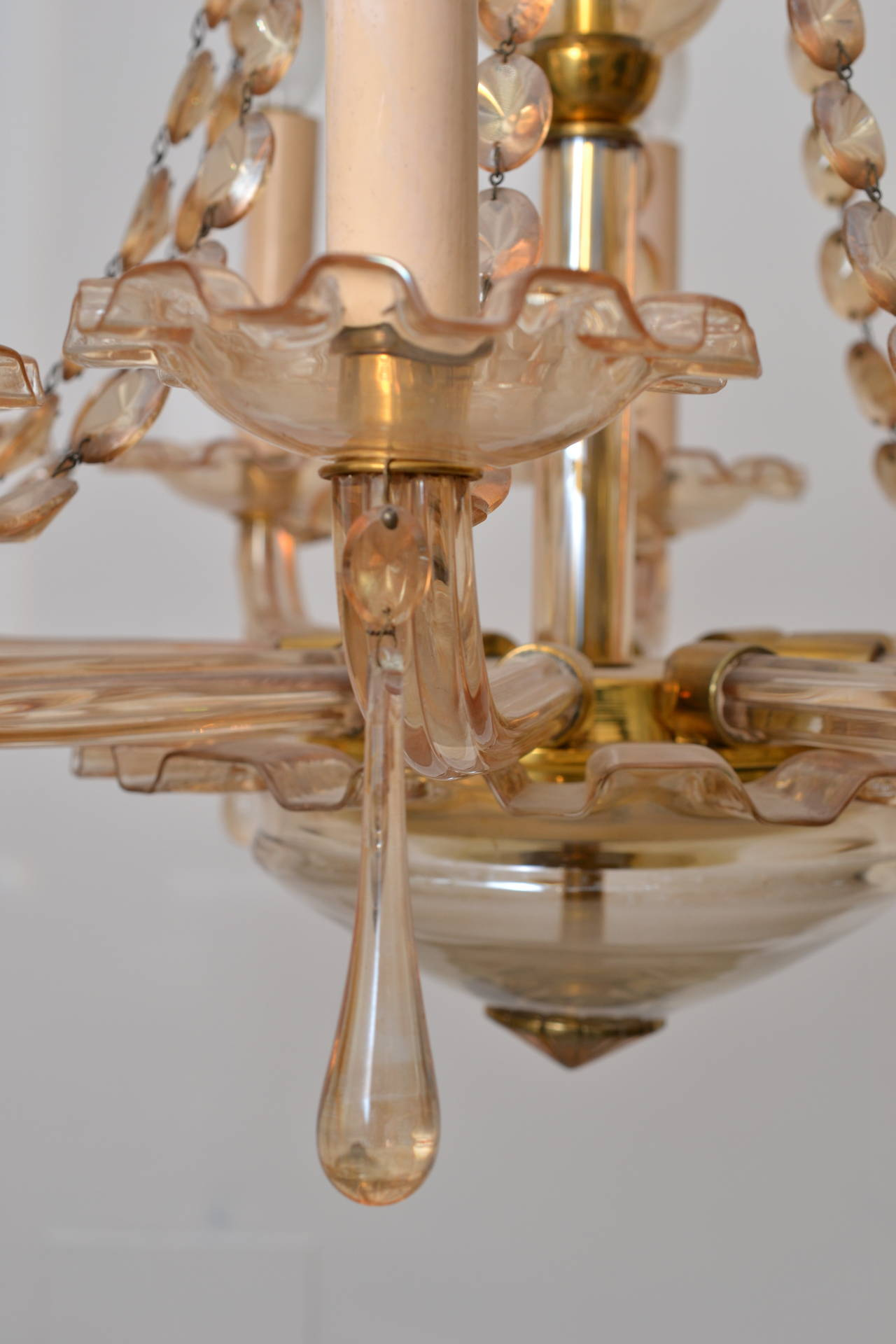 Crystal Chandelier in Rare Pink Colour For Sale at 1stdibs