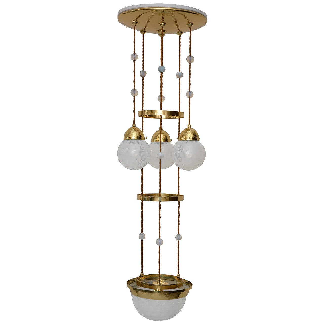 """Koloman Moser Attributed to Bakalowits & Sohne """"Secession"""" Chandelier"""