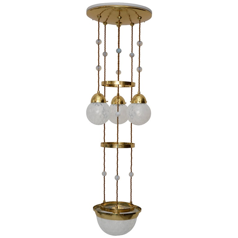 """Koloman Moser Attributed to Bakalowits & Sohne """"Secession"""" Chandelier For Sale"""