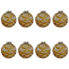 Eight Massive Doria Organic-Pattered Glass Pendants