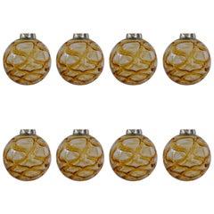 Eight Massive Doria Organic-Pattered Glass Pendants