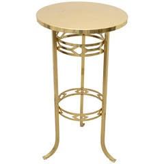Jugendstil Polished Brass Table and Enamelled Stove