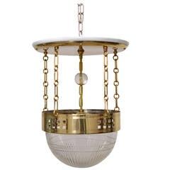 Adjustable Jugendstil Ceiling Lamp with Cut Glass