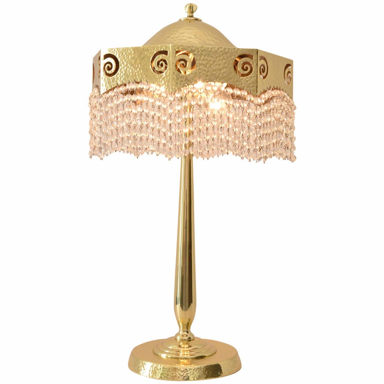 Hammered Jugendstil Table Lamp with Original Cut Glass Balls