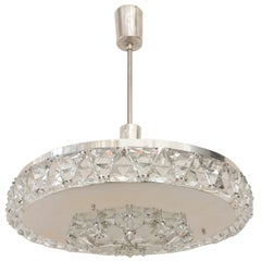 Silver Plated Bakalowits Vienna Faceted Crystal Chandelier, 1950s, Vienna