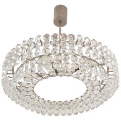 Brass Nickel-Plated Bakalowits Vienna Faceted Crystal Chandelier, 1950s, Vienna
